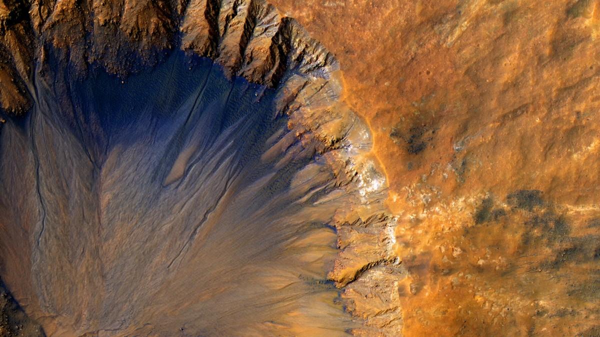 Povrch planety, kde probíhá výzkum Marsu.